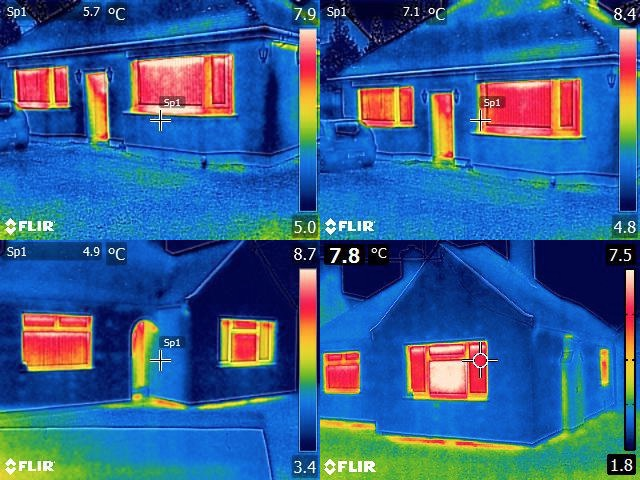 Thermal images of energy efficiency in buildings with and without Thermo-Trac